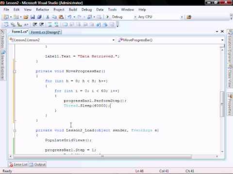 Lesson 2 (Part 1) Gridview MethodInvoker Threading Progress Bar C#