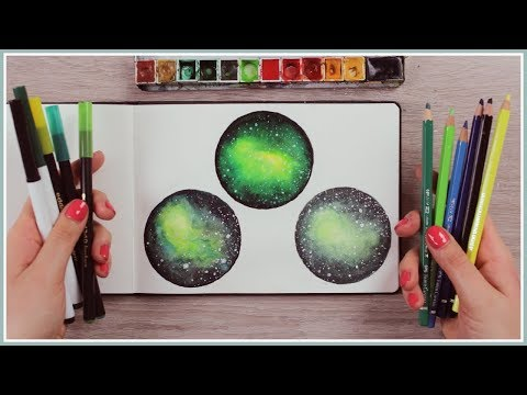 Fake Watercolor Painting Techniques | 3 Ways How to Paint a Galaxy/Nebula