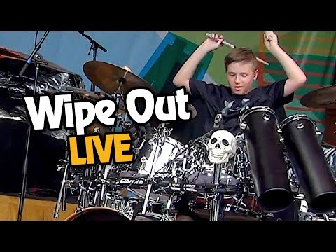 WIPE OUT - LIVE (10 year old Drummer) Avery Drummer & Friends