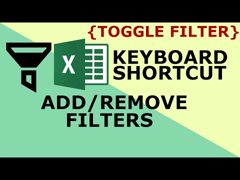 Toggle filters in Excel -Excel keyboard shortcuts