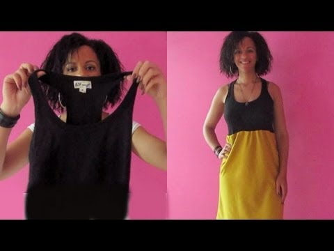 DIY | How To Make A Dress With A Tank Top | Sewing For Beginners