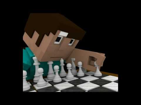 minecraft short - Steve learning to play chess alone - animation