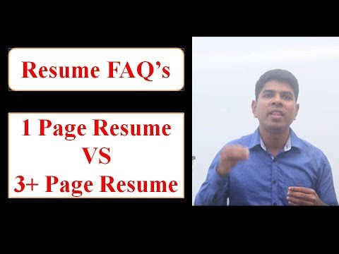 ONE PAGE RESUME VS 3+ Page Resumes | How many page RESUME you should have? Leslie's Voice