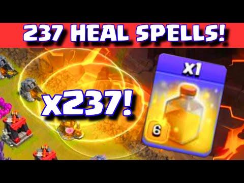 Clash of Clans 237 HEAL SPELLS! | ALL HEAL SPELL WAR