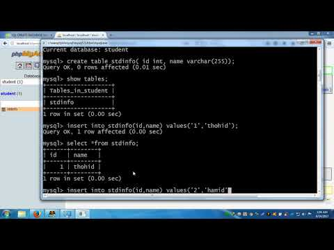 Simple Sql query in Wamp Server create database,table,CURD daa