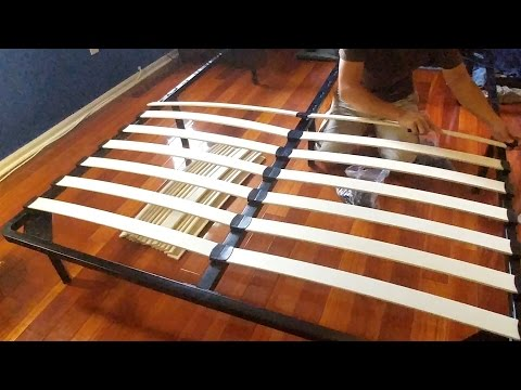 Homdox Wood Slat Queen Platform Metal Bed Frame Review and Assembly