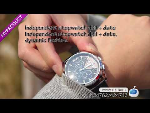 DX:SKMEI 9106 Leather Band Four Dials Quartz Watch - Black + Orange