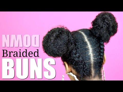 Upside Down Braided Space Buns► Natural Hair