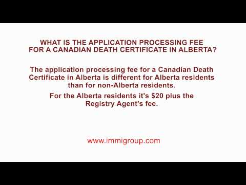 What is the application processing fee for a Canadian Death Certificate in Alberta?