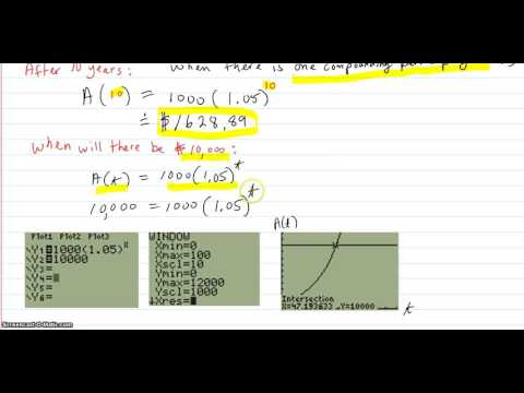 Applications of exponential functions: amount in interest account