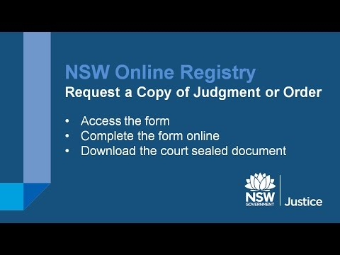 NSW Online Registry - Request for Copy of Judgment or Order