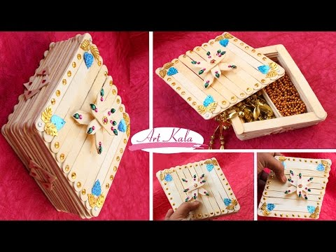 How to Make jewelry box | popsicle stick crafts | DIY | Artkala