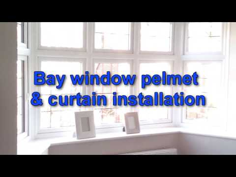 bay window pelmet curtains installation