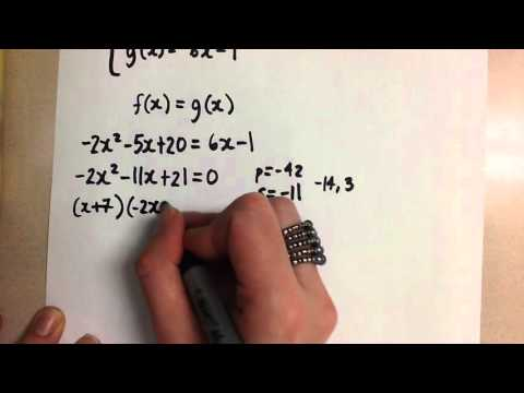 Finding the Intersection of a Linear and Quadratic Function