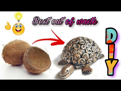 Tortoise Making with Coconut Shell | Best Out of Waste | DIY | TORTOISE MAKING