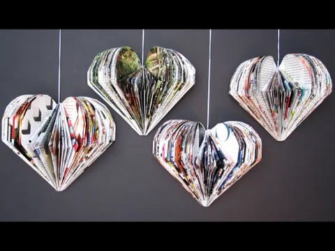 DIY Valentine's Day Room Decor Ideas | Recycle Magazine 3D Hearts | Recycled Crafts Ideas For Kids