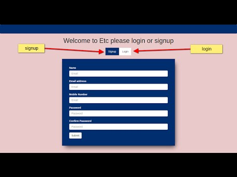 Bootstrap login and signup form in one page using html5, css3,bootstrap Tabs.