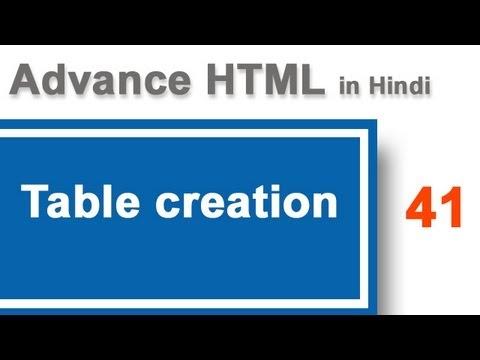 Create table in HTML in Hindi