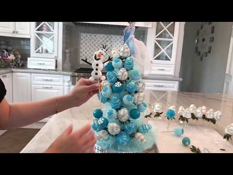 Disney Elsa Chocolate covered Strawberry cake pop Tower for birthday party