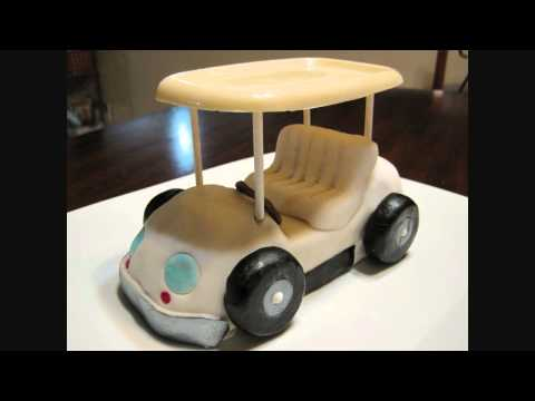 Fondant, Rice krispies and White chocolate Golf cart for a birthday cake