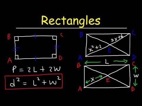 Rectangles - Properties of Parallelograms, Special Quadrilaterals - Geometry