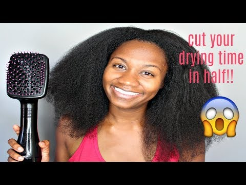 I BLOW DRIED MY NATURAL HAIR IN 20 MIN | REVLON PADDLE BRUSH HAIR DRYER