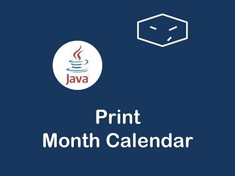 print month calendar in java