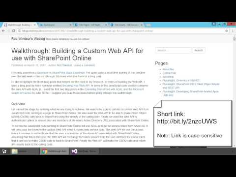 Building a Custom Web API for use with SharePoint Online