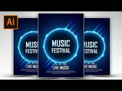 Create a Light Blue Music Festival Poster Using Adobe Illustrator #FreeDownloads
