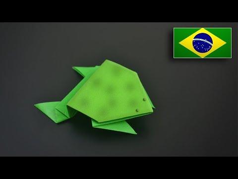 Origami: Sapo Saltador - Instruções em Português BR