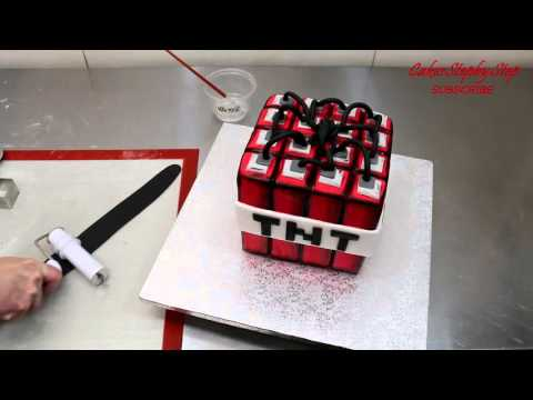 MINECRAFT TNT CAKE   How To Make by CakesStepbyStep