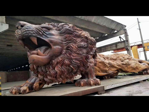 The World's Largest Giant Lion Sculpture Carved From Single Tree