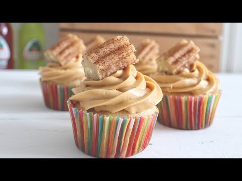Churro Cupcakes with Dulce de Leche Frosting