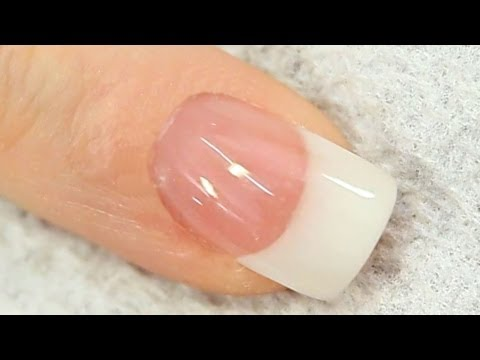 French White Acrylic Nail with Reverse Cover Pink Tutorial