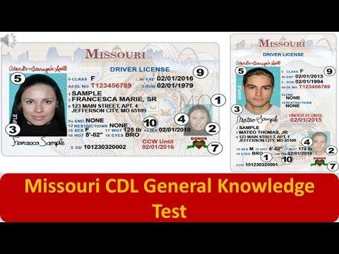 Missouri CDL General Knowledge Test