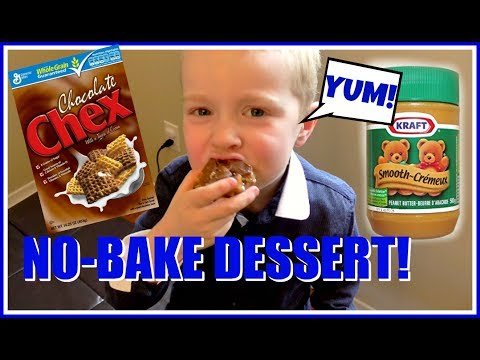 No Bake Peanut Butter Chocolate Chex Bars - Cooking with Kids