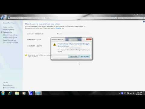 How to Change font size Windows 7