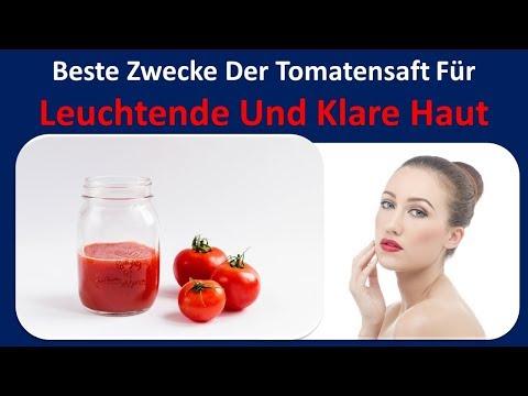 Am besten nutzt Tomatensaft für leuchtende und klare Haut