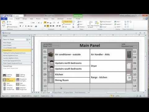 Creating a Residential Electrical Panel Directory in Visio 2010