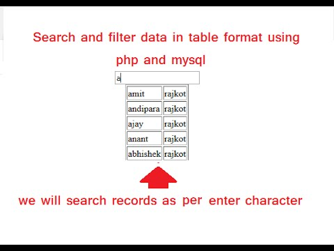search and filter data in html table using php and mysql