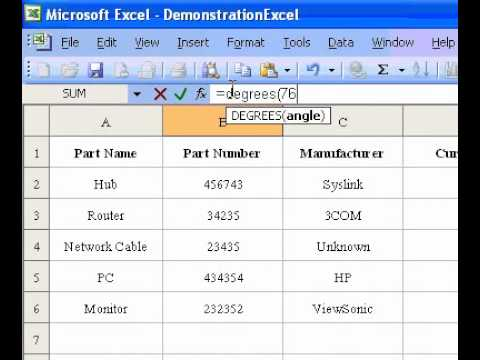 Microsoft Office Excel 2003 DEGREES Function
