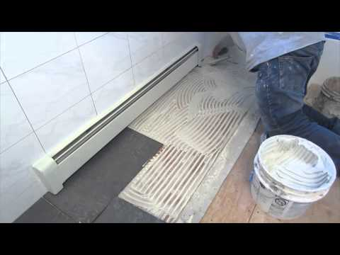 Time lapse ceramic tile installed in a bathroom