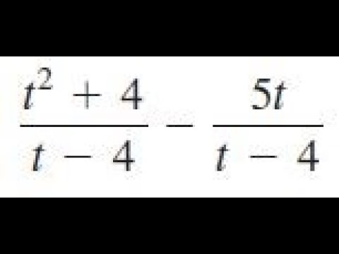 (t^2+4)/(t-4) - 5t/(t-4), simplify the expression