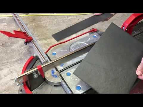 Easy cutting back stone looking fragile porcelain tile with a Manual tile cutter