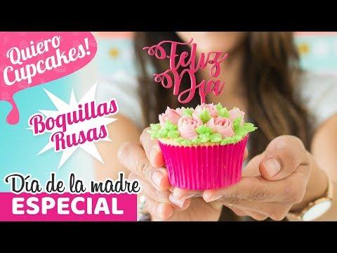 CUPCAKES DE YOGUR CON FRESAS - BOQUILLAS RUSAS | DÍA DE LA MADRE