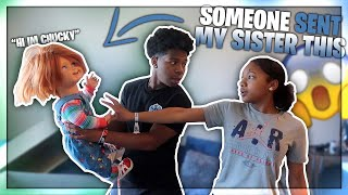 Download SOMEBODY SENT MY SISTER A CHUCKY DOLL! *her reaction was hilarious* Video