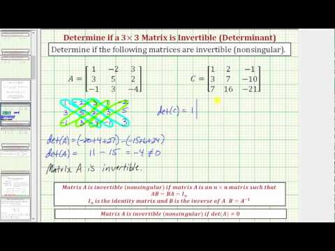 Ex: Determine if a 3x3 Matrix is Invertible (nonsingular) Using a Determinant