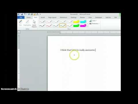 Word 2010 Pens Tab