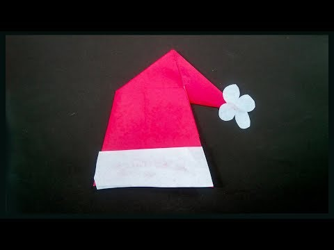 Origami For Christmas How to Make a Santa Claus Hat with Paper -Paper Crafts