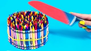 Download EXPERIMENT Glowing 1000 degree KNIFE VS 20 OBJECTS! Crayons Orbeez School Supplies Toys! SATISFYING Video
